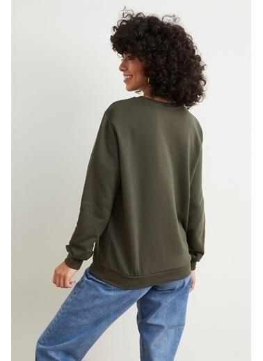 Setre  Uzun Kollu Ve Baskılı Sweatshirt Haki